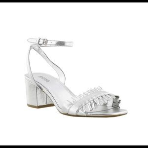 Michael Kors Silver ruffle sandal NWOT